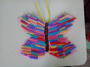 πεταλούδα με καλαμάκια, χειροτεχνία, νηπιαγωγείο